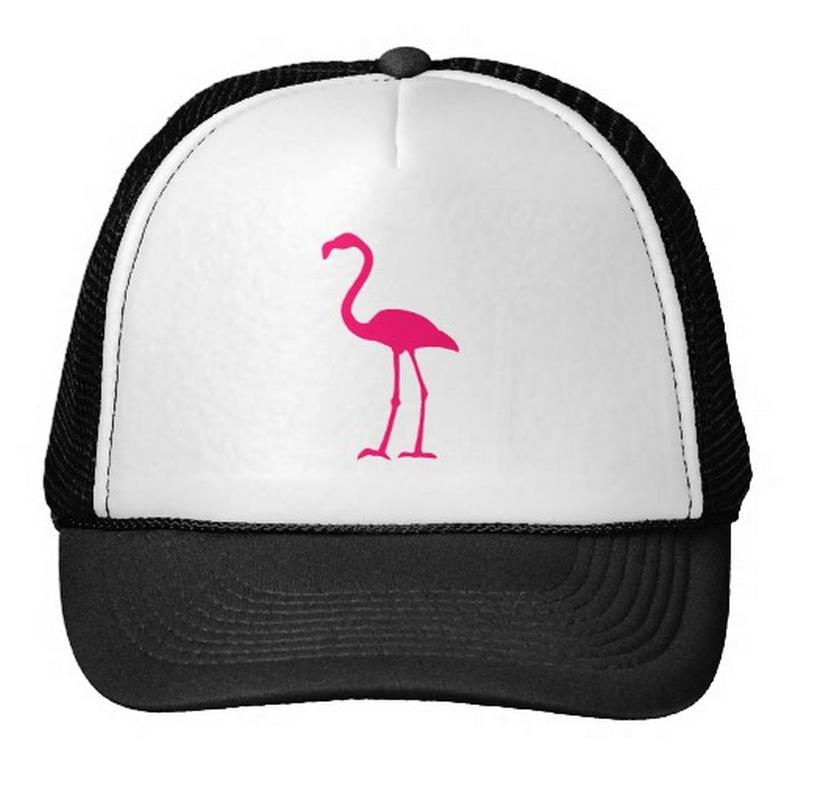 pink flamingo Print Baseball Cap Trucker Hat For Women Men Unisex Mesh Adjustable Size White Drop Ship M-105 showersmile brand sherlock holmes detective hat unisex cosplay accessories men women child two brims baseball cap deerstalker