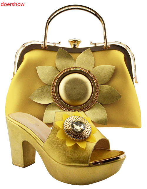 все цены на doershow Shoe and Bag Set New 2018 Women Shoes and Bag Set In Italy yellow Color Italian Shoes with Matching Bags Set G3-39 онлайн