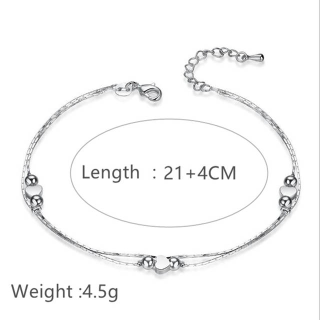 62ef25887 1PCS Hot Sexy Anklet Foot Chain love Heart Shaped multilayer Silver Anklets  wholesale feet lady fashion