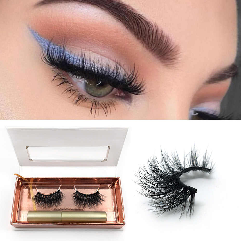 12aa69b46e2 Magnetic Liquid Eyeliner Natural Long Magnetic False Eyelashes Set With  Three Magnet 100% Handmade Mink