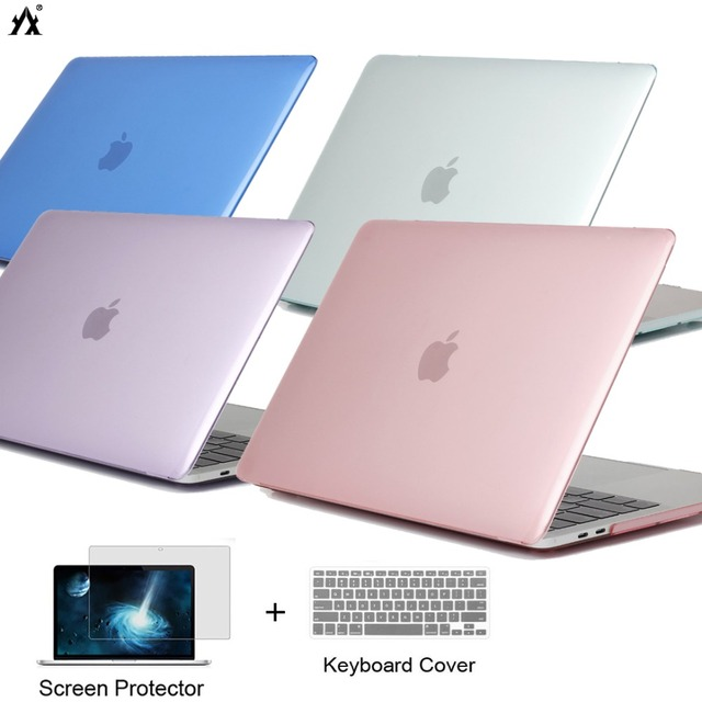 CrystalMatte laptop case For Apple macbook Air Pro Retina 11 12 13 15 for macbook New Air 13 A1932 cover +Keyboard Cover