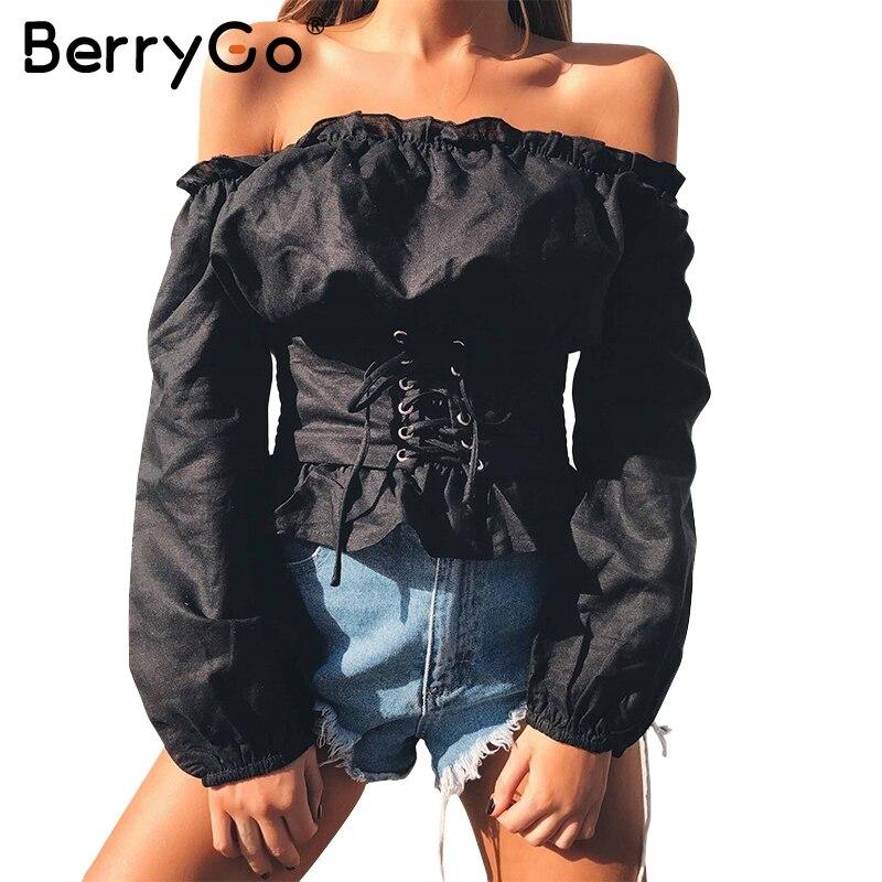BerryGo Ruffle off spalla lace up camicetta camicia delle donne Sexy manica lunga streetwear camicetta 2017 Autunno casual femminile camicetta superiore