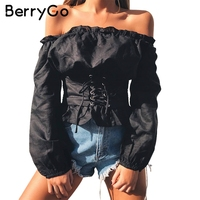 BerryGo Ruffle Off Shoulder Lace Up Blouse Shirt Women Sexy Long Sleeve Streetwear Blouse 2017 Autumn