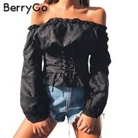 BerryGo Ruffle Off Shoulder Lace Up Blouse Shirt Women Sexy Long Sleeve Streetwear Blouse 2017 Autumn