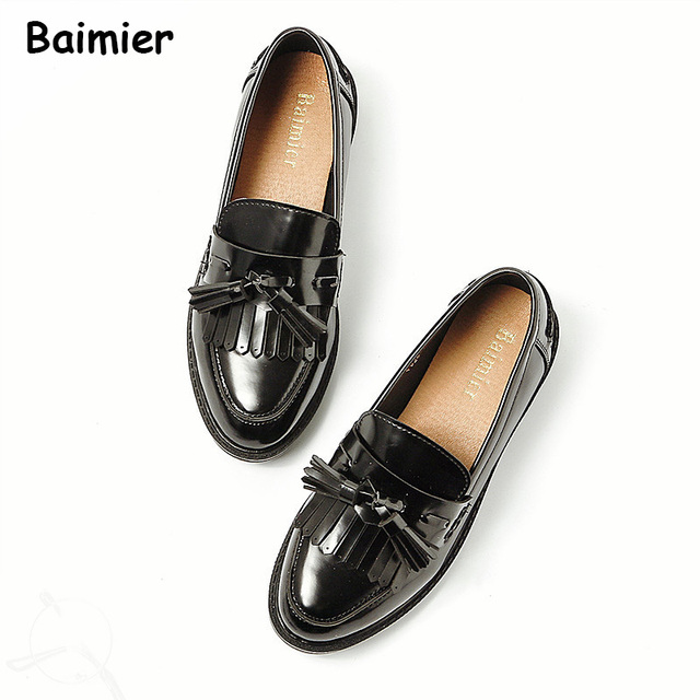 9bde4bb2967 Brand New Women oxfords Flats Platform shoes PU Leather Tassel Slip-on  pointed Creeper black Loafers Women Leather Shoes