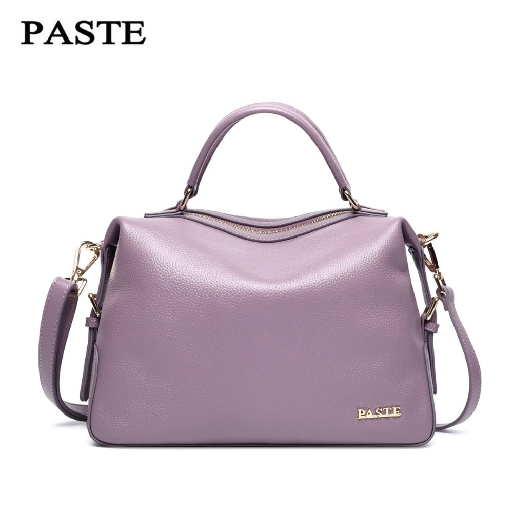 Luxury Famous Brand Natural Genuine leather women handbags European Fashion style shoulder messenger bags Elegant Boston bag luxury famous brand women handbag natural genuine leather bag vintage fashion shoulder messenger bags with three layers design