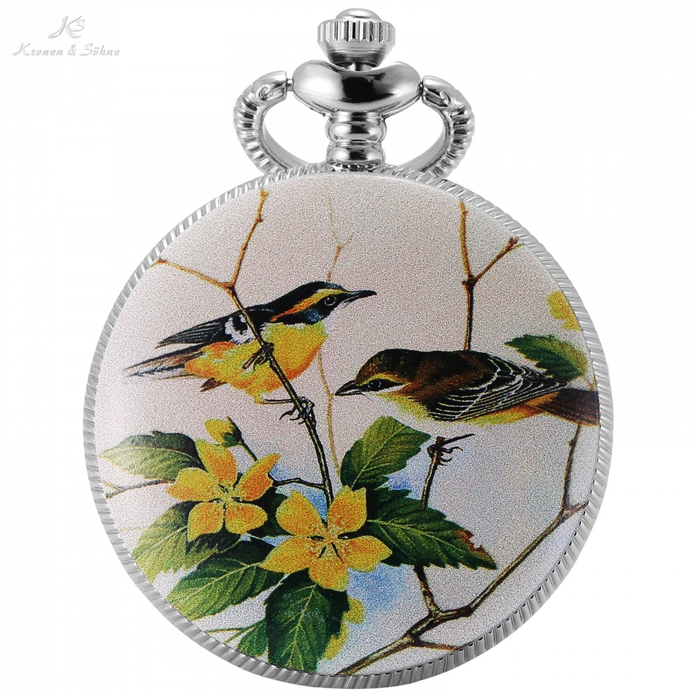 KS Brand Silver Mother Of Pearl Bird Flower Ceramic Canvas Hunter Japan Quartz Movt Pendant Chain Fob Pocket Watch Gift /KSP079 kimio japan movt diamod quartz chain watch alloy band flower round dial for lady