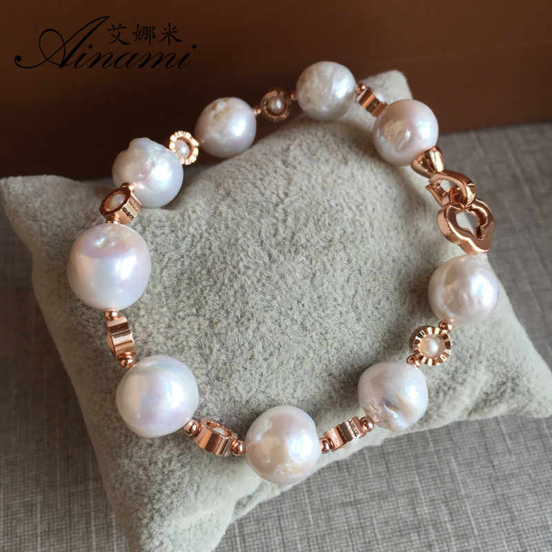 [Ainami] Baroque Pearl Bracelet Natural Freshwater Pearl bracelet 8-11mm Big Baroque Pearl jewelry For Women Free shipping