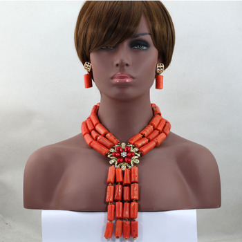 Free Shipping! Latest New African Costume Bridal Jewelry Set African Nigerian Wedding Coral Beads Jewelry Set Hot CJ722