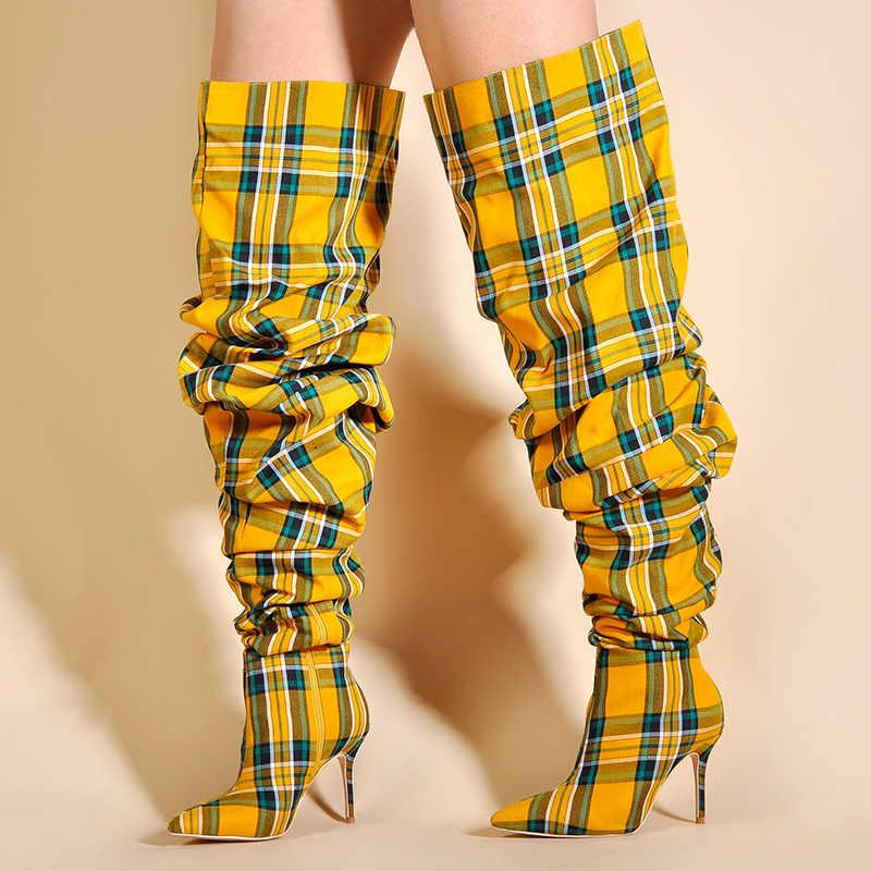 מהדורה מוגבלת ורוד כפות ידיים נעלי נשים ירך גבוהה מגפי בחורף מעל הברך מגפי נשים גבוהה עקבים מגפיים משובצים גבירותיי