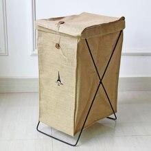 Waterproof Storage Basket Cassette Bracket Jute Dirty Clothes Barrel Trash Home Furnishing Storage Organizers