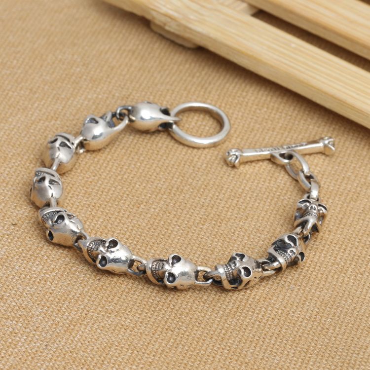 Handmade S925 pure silver skull bracelet vintage thai silver punk jewelry male bracelet man jewelry gift