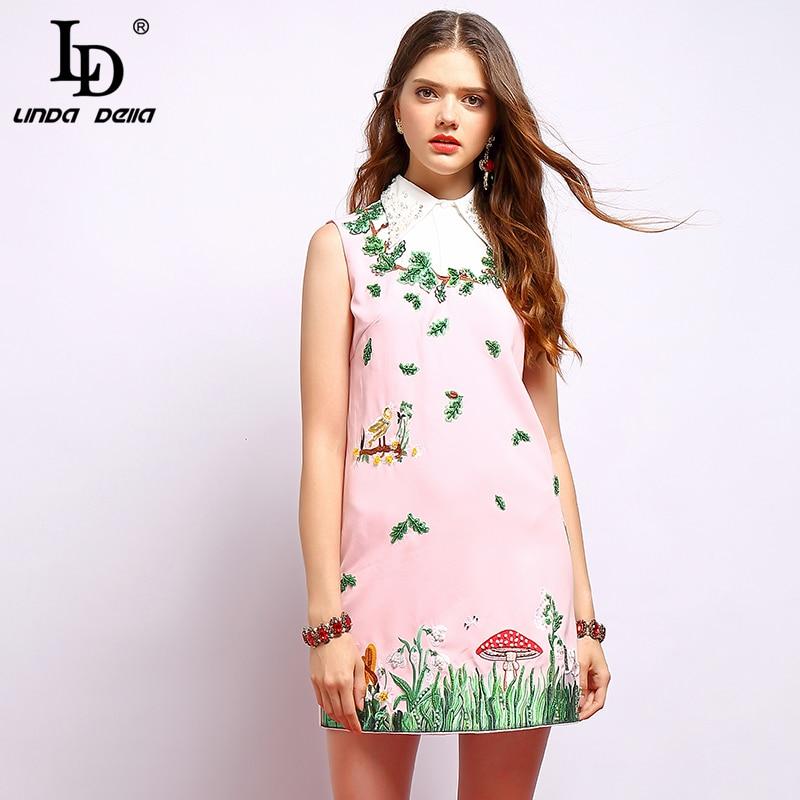 LD LINDA DELLA Fashion Runway Summer Loose Dresses Women s Sleeveless Beading Embroidery Elegant Casual Party