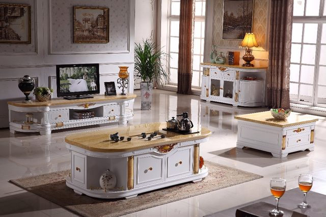 Online Shop white wooden living room set coffee table+end table+TV ...