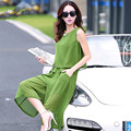 2015 летом новая мода досуга костюм женщины свободные шифон блузка + широкие ноги штаны из двух частей наряд