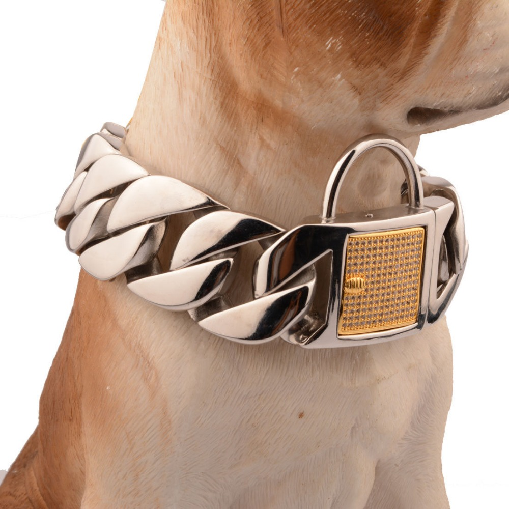 31MM Heavy Huge Duty Strong Stainless Steel Silver Gold Lock Buckle Dog Choker Cuban Curb Chain Training Collar Pit Bull 18-26 crazy pit bull lady apbt dog vinyl window decal dog sticker
