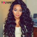 Brazilian Virgin Hair Loose Wave Curly Full Lace Human Hair Wigs For Black Women 8A Grade Mink Wavy Lace Front Human Hair Wigs