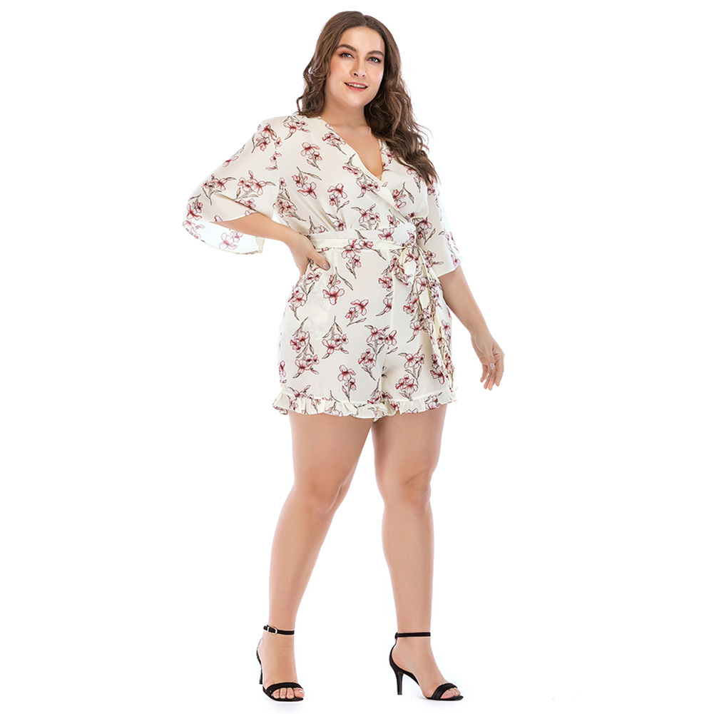 Summer Womens Lady Jumpsuit V Collar Romper Printing Fashion Sexy Casual Loose Jumpsuits FS99