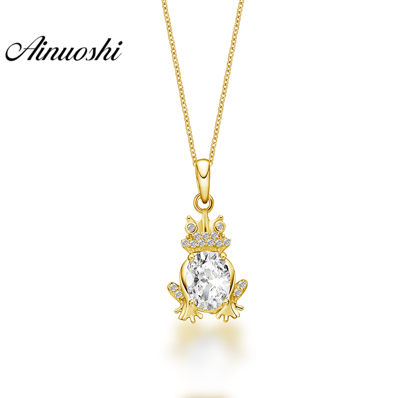 все цены на AINUOSHI 10K Solid Yellow Gold Pendant Little Frog Pendant Oval Cut SONA Diamond Women Men Jewelry Cute Animal Separate Pendant онлайн