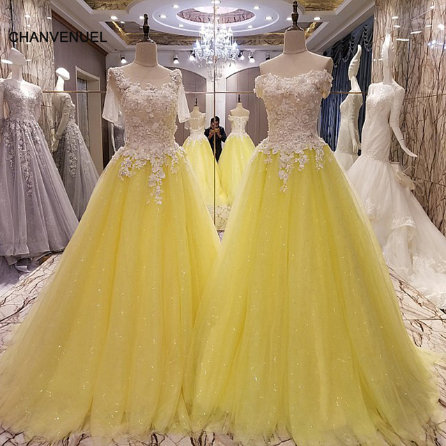 LS99063 yellow evening gown corset back beaded tulle A line ...
