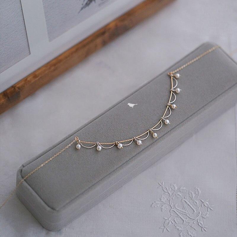 D'origine 14 k Or Hand Made Dentelle Nuage Or Et Argent Perle Collier 925 Argent Tempérament Femmes Collier Sauvage Pop collier