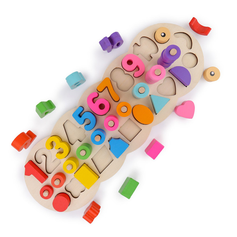 Wooden Montessori Materials Learning To Count Numbers Matching Digital Shape Match Early Education Teaching Math Children Toys