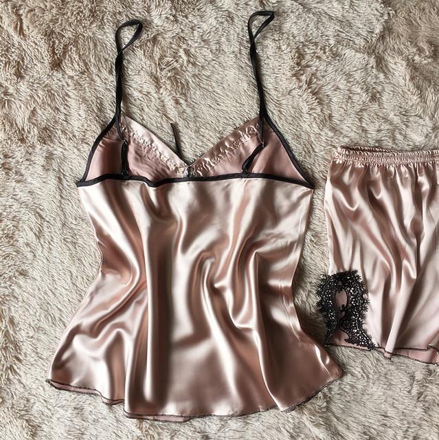 Ladies Sexy Silk Satin Pajama Set Lace Pyjama Set Sleeveless Pijama Set V-neck Sleepwear Summer Home Wear Sleep Wear For Women