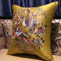 free shipping classical many birds waist cushion with inner 40x60cm Pillow embroidery sain cushion pillow chair decorate