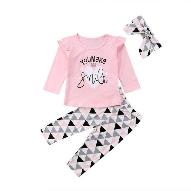 Recién Nacido bebé niñas volantes Tops + Pantalones geométricos Leggings ropa 0-24 M