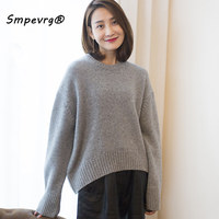 Smpevrg cashmere sweater women sweaters and pullovers long sleeve O neck thick female pullover women knitted winter warm jumper
