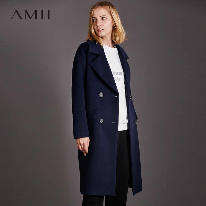Amii Minimalist  Double Breasted Woolen Coat Women Winter 2018 Causal Solid Turn-down Collar Pockets Female Black Wool Jacket