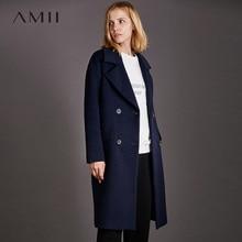 Amii Minimalist Double Breasted Woolen Coat Women Winter 2018 Causal Solid Turn-down Collar Pockets Female Black Wool Jacket