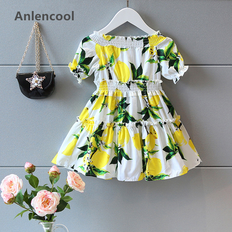 Anlencool Grils Dress  Brand Girls Summer Dress Kids Clothes Short Sleeve Shoulderless Lemon Print for Girl Princess Dress