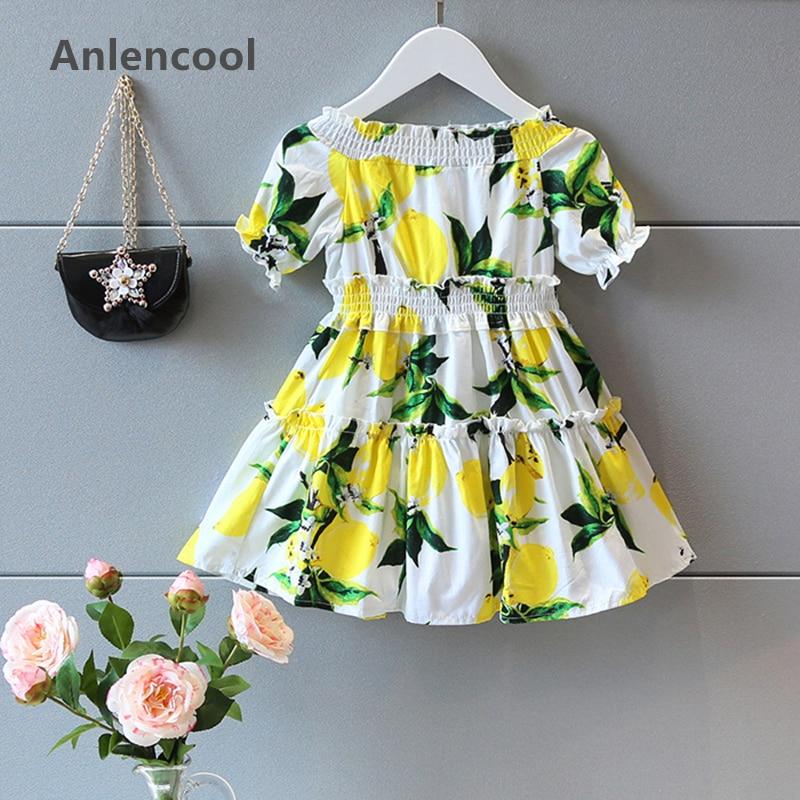 Anlencool Grils Dress  Brand Girls Summer Dress Kids Clothes Short Sleeve Shoulderless Lemon Print for Girl Princess Dress  цены
