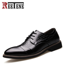 2017 Демисезонный Мужская Классическая модельная обувь Chaussures крокодил узор острый носок Мужская деловая обувь модные удобные Формальные Туфли без каблуков
