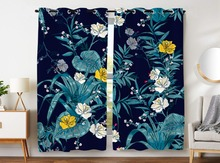 цена HommomH Curtains (2 Panel) Grommet Top Darkening Blackout Room Vintage Tropical Flower Blue онлайн в 2017 году