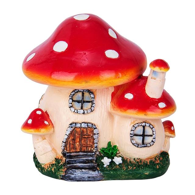 Mushroom House Resin Crafts Mini Fairy home Garden Decor DIY Ornament Landscape Miniatures Resin Accessories Micro Garden 2