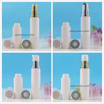 10ML white plastic airless bottle with gold/silver pump clear lid for lotion/emulsion/serum/eye essence/skin care cosmetic pack
