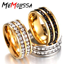 MMS Classic Wide Ring 2 Row Lines Clear Crystal Wedding Ring for Women Silver Gold Black Ring Rhinestone Rings(China)