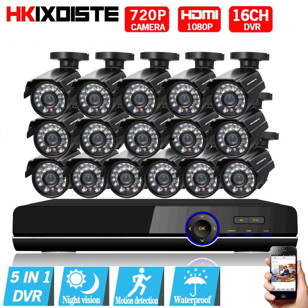 16CH 1080P AHD DVR 16PCS 2000TVL 720P AHD IR Night Vision Outdoor CCTV Camera 24 LEDs Home Security CCTV System Surveillance Kit sannce 8ch 720p ahd dvr 4pcs 1200tvl ir night vision outdoor cctv camera 24 leds home security cctv system surveillance kit