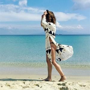 Image 4 - Swimsuit Cover Up 2020 Women Pareo Beach Dress Wears Print Loose Long Dress Beach Cardigan Bathing Suit Beach Cover Ups