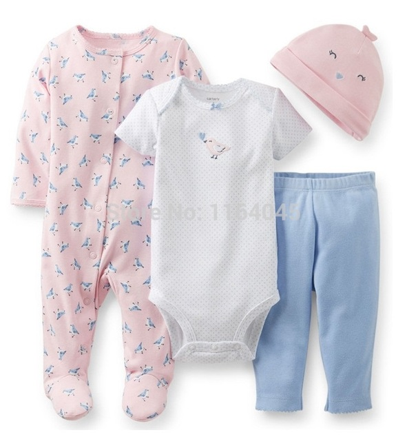 F4-007,Original,New Articles,Babies 4-Piece Take-Me-Home Set, Bodysuit+Romper+Pants+Hat, Free Shipping