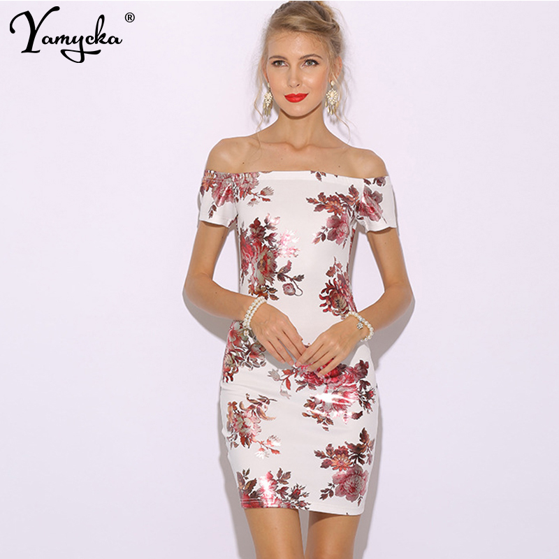Sexy black White Off Shoulder Summer dress women befree fashion print Slash neck Backless Nightclub party Dress elegant vestido in Dresses from Women 39 s Clothing
