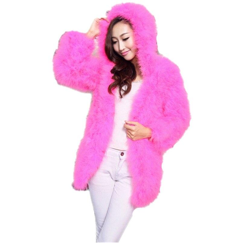 Manteau de fourrure véritable avec capuche femmes automne hiver réel autruche plumes manteaux de fourrure longue mode style warm70cm longueur veste de fourrure C125