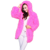 Real fur coat with hood women autumn winter real ostrich feather fur coats long fahion style warm70cm length fur jacket C125