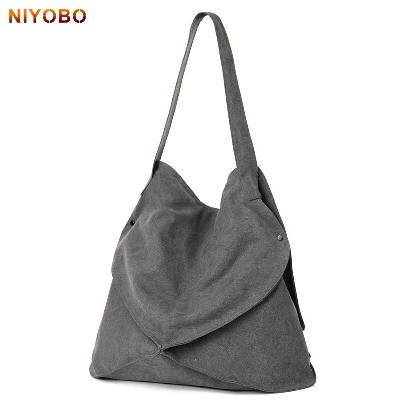 NIYOBO 2018 신입 캔버스 여성 가방 대용량 숙녀 핸드백 캐주얼 단순 숄더 가방 여성 토트 Bolsas PT1237
