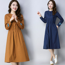 2019 summer new retro long-sleeved solid color embroidered cotton and linen shirt dress large size M-2XL high quality vestidos