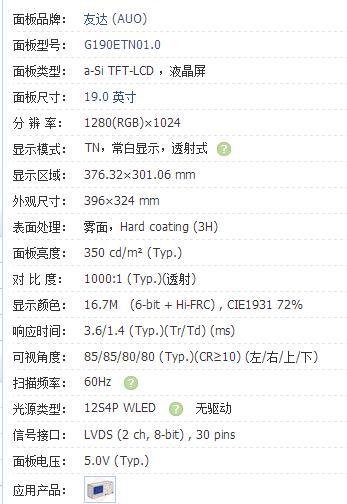 G190ETN01.0s 19 inch resolution 1280*1024 fog face contrast 1000:1 new original