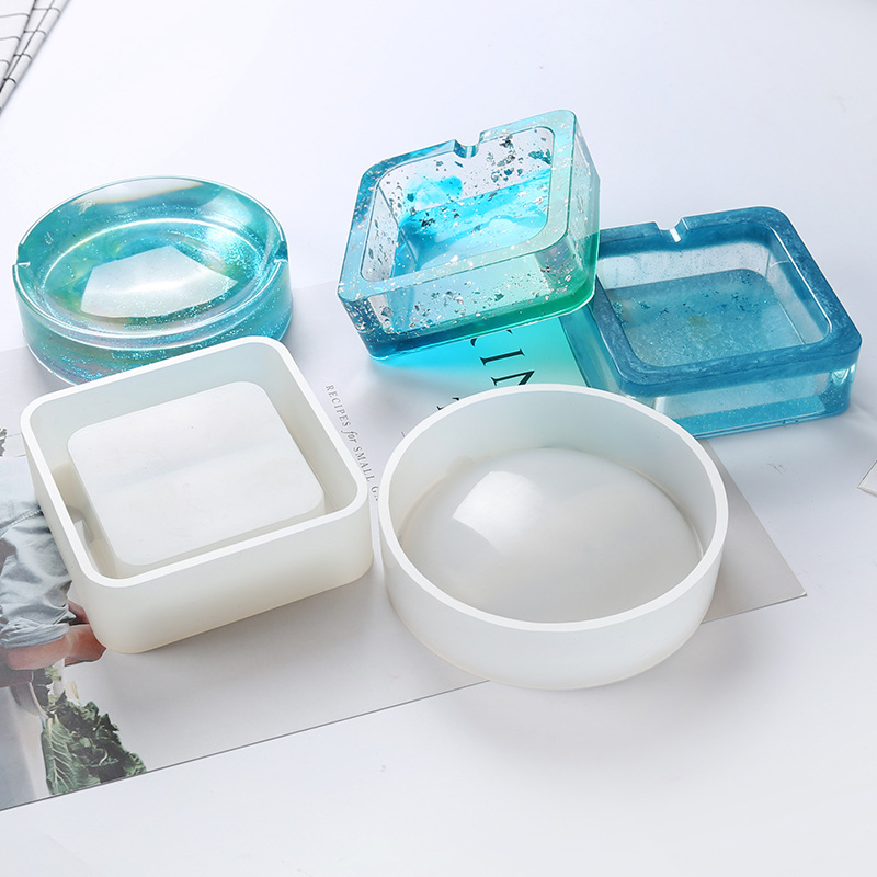 2018 New Transparent Silicone Round Square Ashtray Mould DIY Epoxy Jewelry Mold Resin Molds For Jewelry Making