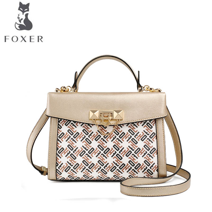 купить FOXER brand bags for women 2018 new women leather bag fashion Cowhide with PVC designer women leather handbags tote shoulder bag по цене 5256.89 рублей